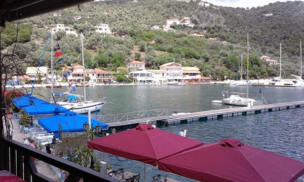 View over Sivota, from the upper balcony of Ioanna's Family Cafe.